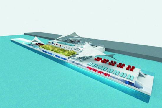Piscine flottante anvers en belgique le nouveau record for Accessoire piscine belgique