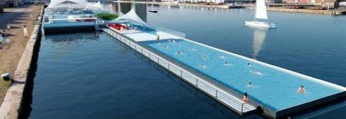 Piscine flottante anvers en belgique le nouveau record for Piscine belgique