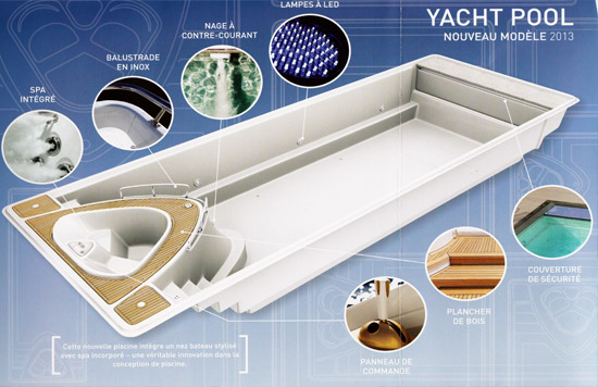 La piscine avec spa int gr yacht pool nouveaut 2013 for Piscine coque volet integre