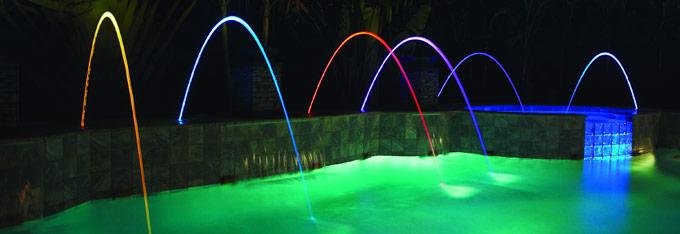 Arcs mobiles jets d'eau lumineux pour piscine