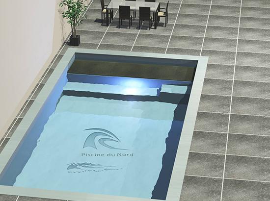 Mini piscine int rieure avec volet sous marche en pierre for Piscine miroir fonctionnement